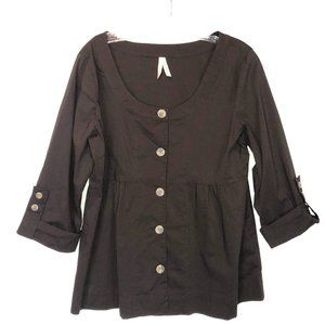 Old Navy Brown Top Button Up Stretch